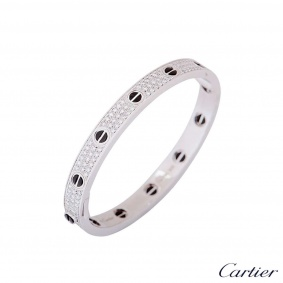 Cartier White Gold Pave Diamond & Ceramic Love Bracelet Size 18 N6032417